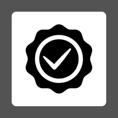 valid: Valid icon from Award Buttons OverColor Set. Icon style is black and white colors, flat rounded square button, gray background.