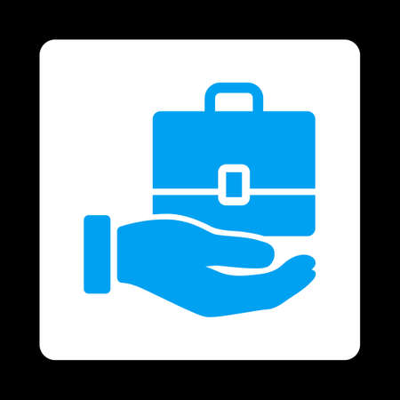 keeping: Accounting icon from Commerce Buttons OverColor Set. Vector style is blue and white colors, flat square rounded button, black background.
