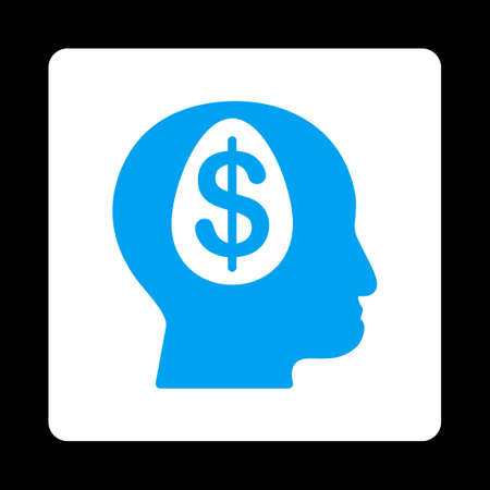 economist: Banker icon from Commerce Buttons OverColor Set. Vector style is blue and white colors, flat square rounded button, black background.