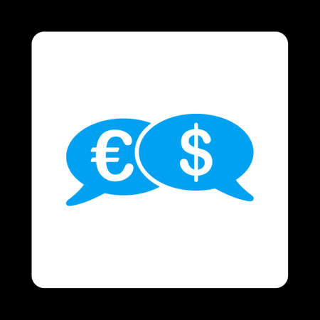 swift: Banking Transactions icon from Commerce Buttons OverColor Set. Vector style is blue and white colors, flat square rounded button, black background. Illustration