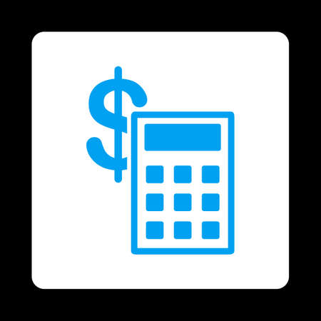 estimate: Calculation icon from Commerce Buttons OverColor Set. Vector style is blue and white colors, flat square rounded button, black background.