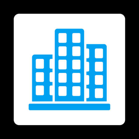 burg: City icon from Commerce Buttons OverColor Set. Vector style is blue and white colors, flat square rounded button, black background. Illustration