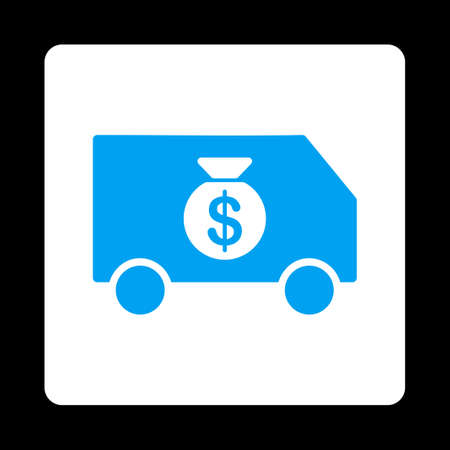collector: Collector Car icon from Commerce Buttons OverColor Set. Vector style is blue and white colors, flat square rounded button, black background. Illustration