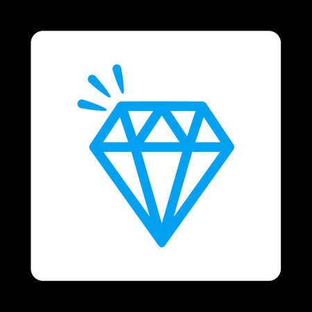 crystal button: Crystal icon from Commerce Buttons OverColor Set. Vector style is blue and white colors, flat square rounded button, black background.