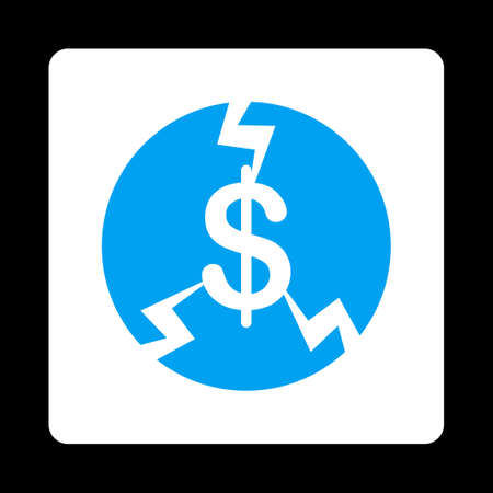 economic depression: Financial Crash icon from Commerce Buttons OverColor Set. Vector style is blue and white colors, flat square rounded button, black background.