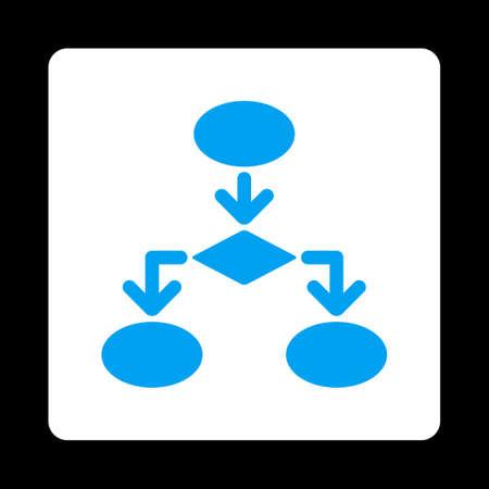 diagrama de flujo: Icono de Diagrama de flujo del comercio Botones OverColor Set. Estilo vector es los colores azul y blanco, botón redondo cuadrado plano, fondo negro.