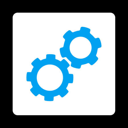 Gears icon from Commerce Buttons OverColor Set. Vector style is blue and white colors, flat square rounded button, black background.
