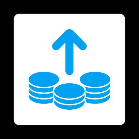 payout: Icono de Pago de Comercio Botones OverColor Set. Estilo vector es los colores azul y blanco, bot�n redondo cuadrado plano, fondo negro.