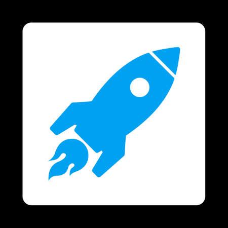 rocket launch: Rocket icono de Inicio de Comercio Botones OverColor Set. Estilo vector es los colores azul y blanco, bot�n redondo cuadrado plano, fondo negro.