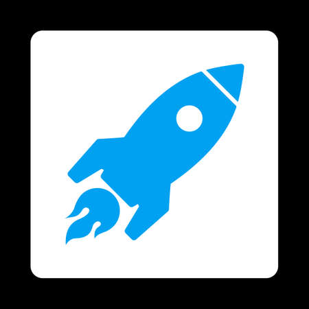 satellite launch: Rocket Launch icon from Commerce Buttons OverColor Set. Vector style is blue and white colors, flat square rounded button, black background. Illustration