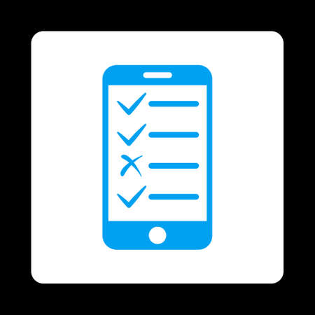 Mobile Tasks icon from Commerce Buttons OverColor Set. Vector style is blue and white colors, flat square rounded button, black background.