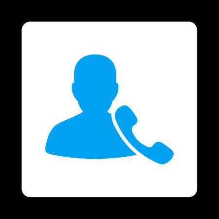 phone support: Phone Support icon from Commerce Buttons OverColor Set. Vector style is blue and white colors, flat square rounded button, black background. Illustration