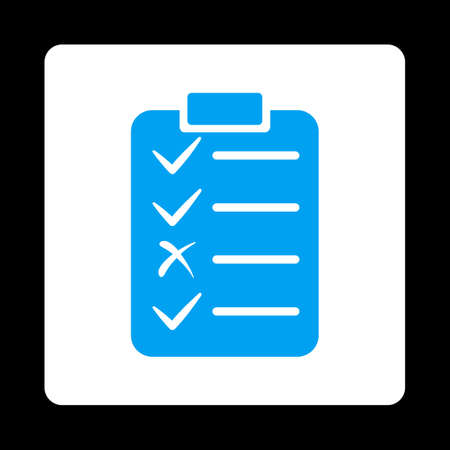 enumerate: Task List icon from Commerce Buttons OverColor Set. Vector style is blue and white colors, flat square rounded button, black background.