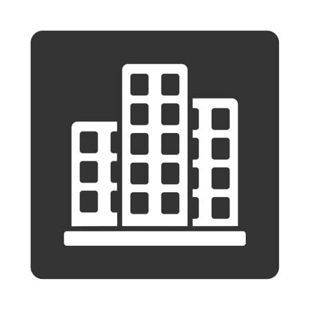 megapolis: City icon from Commerce Buttons OverColor Set. Glyph style is white and gray colors, flat square rounded button, white background.