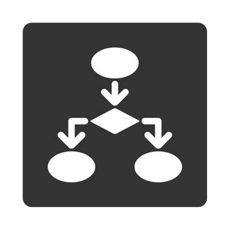 flowchart: Flowchart icon from Commerce Buttons OverColor Set. Glyph style is white and gray colors, flat square rounded button, white background. Stock Photo
