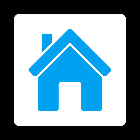 birthplace: House icon from Commerce Buttons OverColor Set. Vector style is blue and white colors, flat square rounded button, black background. Illustration