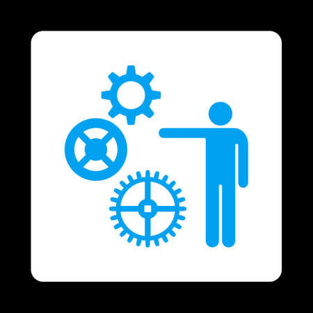 gear box: Project icon from Commerce Buttons OverColor Set. Vector style is blue and white colors, flat square rounded button, black background.