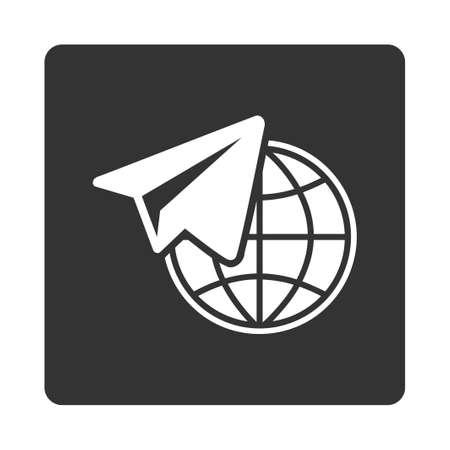 telegrama: Freelance icono de Comercio Botones OverColor Set. Glifo estilo es colores blanco y gris, botón redondo cuadrado plano, fondo blanco.
