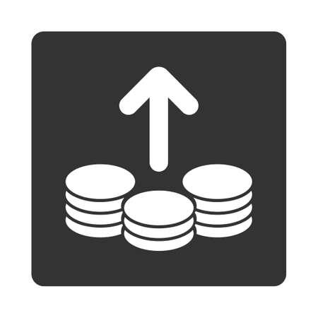 payout: Icono de Pago de Comercio Botones OverColor Set. Glifo estilo es colores blanco y gris, bot�n redondo cuadrado plano, fondo blanco. Foto de archivo