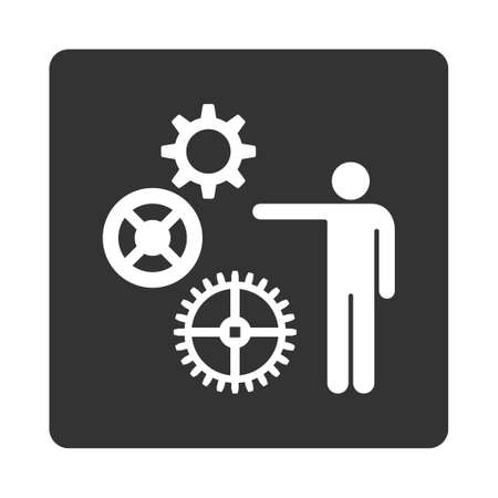 gear box: Project icon from Commerce Buttons OverColor Set. Glyph style is white and gray colors, flat square rounded button, white background. Stock Photo