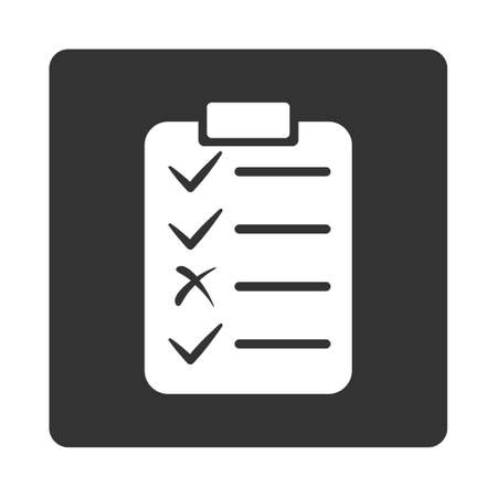 numerate: Task List icon from Commerce Buttons OverColor Set. Glyph style is white and gray colors, flat square rounded button, white background. Stock Photo