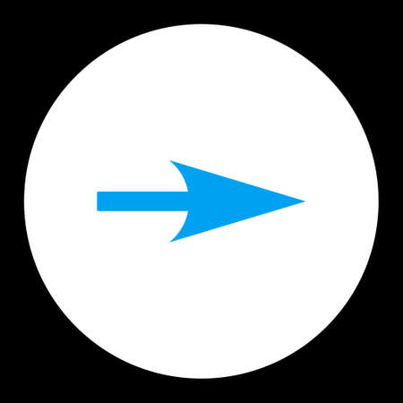 x axis: Arrow Axis X icon from Primitive Round Buttons OverColor Set. This round flat button is drawn with blue and white colors on a black background.