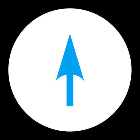 y axis: Arrow Axis Y icon from Primitive Round Buttons OverColor Set. This round flat button is drawn with blue and white colors on a black background.