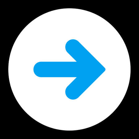 arrow right icon: Arrow Right icon from Primitive Round Buttons OverColor Set. This round flat button is drawn with blue and white colors on a black background.