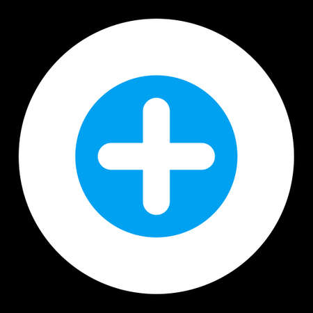 make summary: Create icon from Primitive Round Buttons OverColor Set. This round flat button is drawn with blue and white colors on a black background. Stock Photo