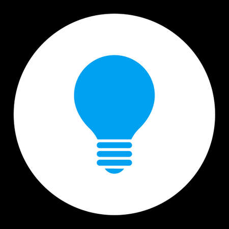 electric bulb: Electric Bulb icon from Primitive Round Buttons OverColor Set. This round flat button is drawn with blue and white colors on a black background. Stock Photo