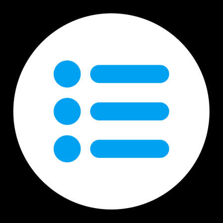 numerate: Items icon from Primitive Round Buttons OverColor Set. This round flat button is drawn with blue and white colors on a black background.