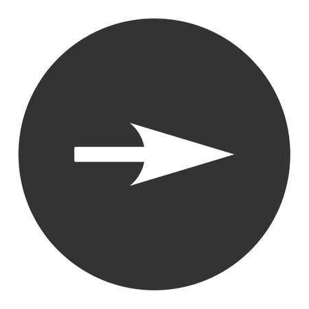 x axis: Arrow Axis X icon from Primitive Round Buttons OverColor Set. This round flat button is drawn with white and gray colors on a white background.