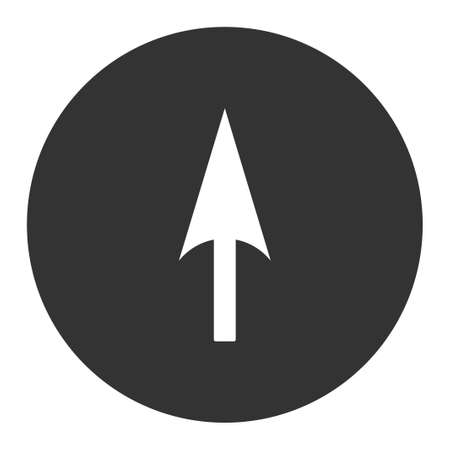 ordinate: Arrow Axis Y icon from Primitive Round Buttons OverColor Set. This round flat button is drawn with white and gray colors on a white background.