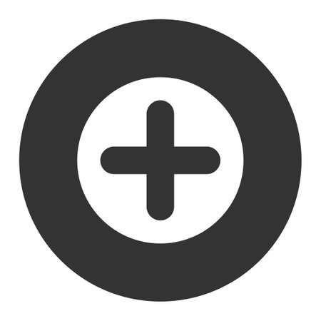 make summary: Create icon from Primitive Round Buttons OverColor Set. This round flat button is drawn with white and gray colors on a white background.
