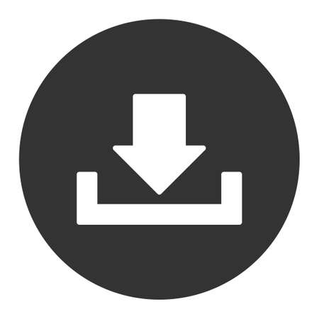 dropbox: Download icon from Primitive Round Buttons OverColor Set. This round flat button is drawn with white and gray colors on a white background.