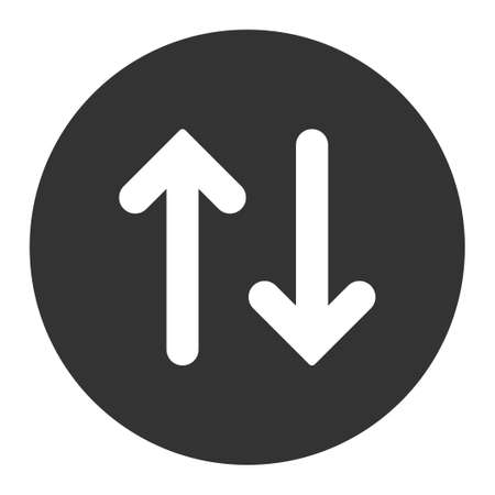 inverse: Flip icon from Primitive Round Buttons OverColor Set. This round flat button is drawn with white and gray colors on a white background.