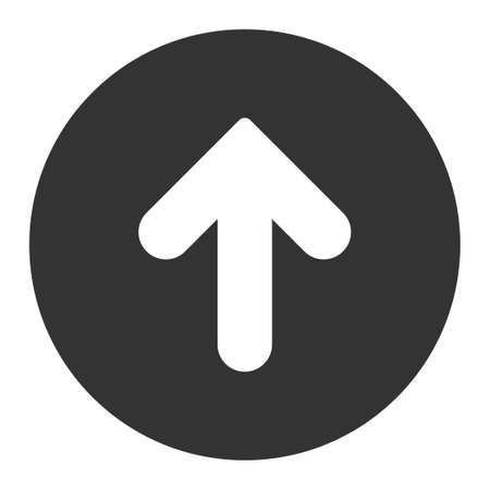 upward movements: Arrow Up icon from Primitive Round Buttons OverColor Set. This round flat button is drawn with white and gray colors on a white background.