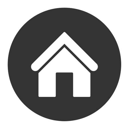 birthplace: Home icon from Primitive Round Buttons OverColor Set. This round flat button is drawn with white and gray colors on a white background.