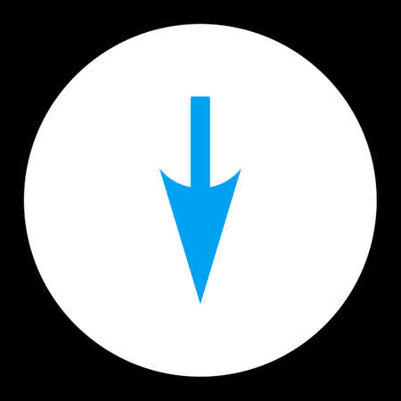 y axis: Sharp Down Arrow icon from Primitive Round Buttons OverColor Set. This round flat button is drawn with blue and white colors on a black background.