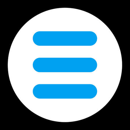 numerate: Stack icon from Primitive Round Buttons OverColor Set. This round flat button is drawn with blue and white colors on a black background. Stock Photo