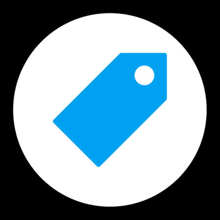 operand: Tag icon from Primitive Round Buttons OverColor Set. This round flat button is drawn with blue and white colors on a black background.