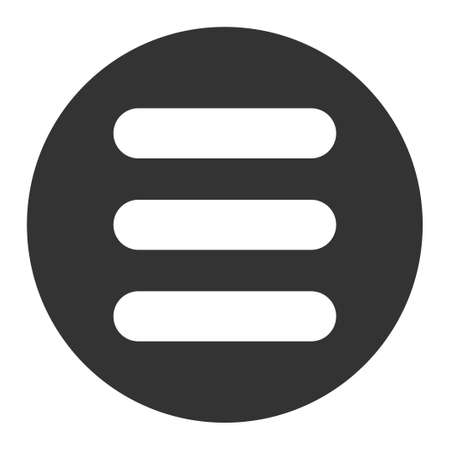 enumerated: Stack icon from Primitive Round Buttons OverColor Set. This round flat button is drawn with white and gray colors on a white background. Illustration