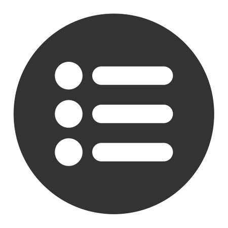 numerate: Items icon from Primitive Round Buttons OverColor Set. This round flat button is drawn with white and gray colors on a white background.