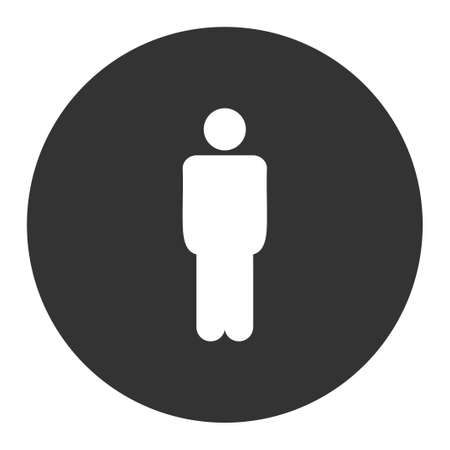 persona: Man icon from Primitive Round Buttons OverColor Set. This round flat button is drawn with white and gray colors on a white background.