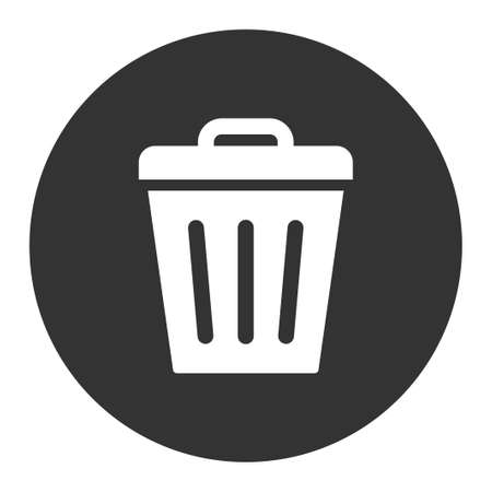 dispose: Trash Can icon from Primitive Round Buttons OverColor Set. This round flat button is drawn with white and gray colors on a white background. Illustration