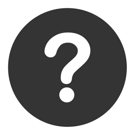 inquire: Question icon from Primitive Round Buttons OverColor Set. This round flat button is drawn with white and gray colors on a white background.
