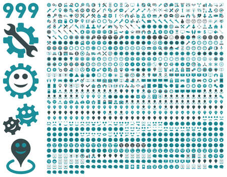 pity: 999 tools, gears, smiles, map markers, mobile icons. Vector set style is bicolor flat images, soft blue symbols, isolated on a white background.