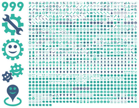 pity: 999 tools, gears, smiles, map markers, mobile icons. Vector set style is bicolor flat images, cobalt and cyan symbols, isolated on a white background.