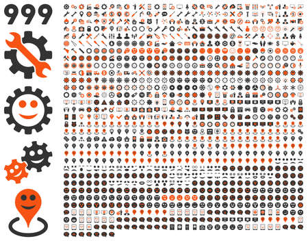 pity: 999 tools, gears, smiles, map markers, mobile icons. Vector set style is bicolor flat images, orange and gray symbols, isolated on a white background. Illustration