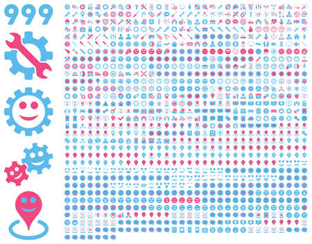 pity: 999 tools, gears, smiles, map markers, mobile icons. Vector set style is bicolor flat images, pink and blue symbols, isolated on a white background.